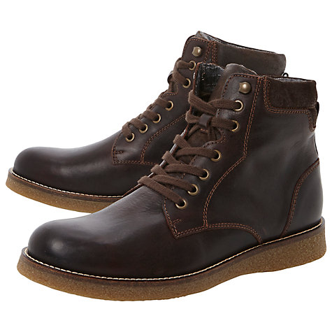 Buy Bertie College Leather Lace Up Boots, Brown Online at johnlewis.com