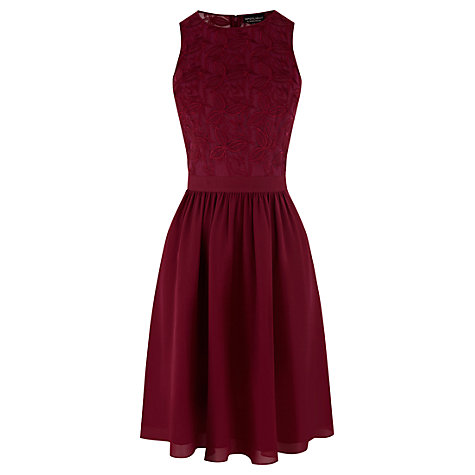 Buy Warehouse Mesh Embroidered Dress, Purple Online at johnlewis.com