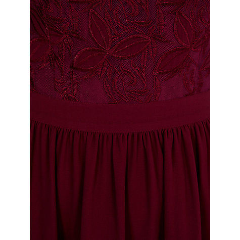 Buy Warehouse Mesh Embroidered Dress, Berry Online at johnlewis.com