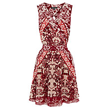 Buy Warehouse Pattern Folk Dress, Red Online at johnlewis.com