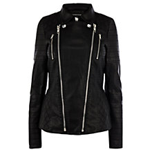 Buy Warehouse Triple Zip Biker, Black Online at johnlewis.com