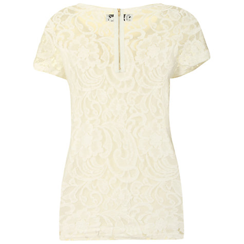 Buy True Decadence Lace T-Shirt, Cream Online at johnlewis.com