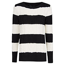 Buy Mango Cable Knit Striped Jumper, Navy/Cream Online at johnlewis.com