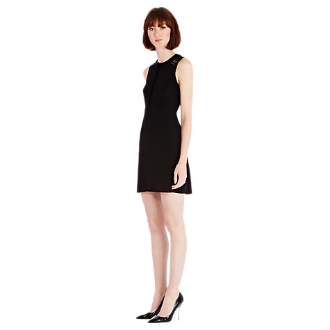 Buy Warehouse Crochet Back Dress, Black Online at johnlewis.com