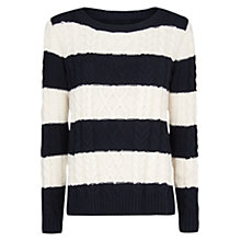 Buy Mango Cable Knit Striped Jumper, Black Online at johnlewis.com