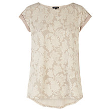 Buy Warehouse Lurex Jacquard T-shirt, Cream Online at johnlewis.com