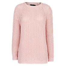 Buy Mango Reverse Chunky Knit Jumper, Light Pastel Pink Online at johnlewis.com