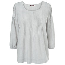 Buy Phase Eight Penny Pintuck Blouse, Grey White Online at johnlewis.com