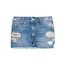 Buy Mango Ripped Denim Shorts, Medium Blue Online at johnlewis.com