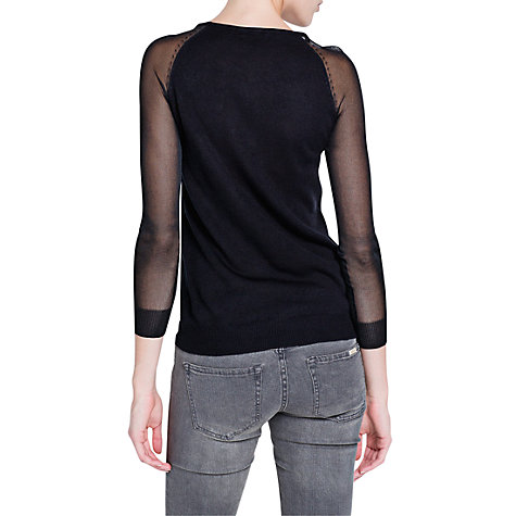 Buy Mango Contrast Sleeve Jumper, Black Online at johnlewis.com