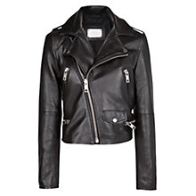 Buy Mango Faux Leather Biker Jacket, Black Online at johnlewis.com
