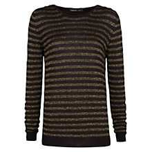 Buy Mango Metallic Striped Jumper, Black Online at johnlewis.com