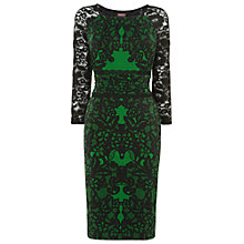 Buy Phase Eight Reena Lace Print Dress, Black/Emerald Online at johnlewis.com