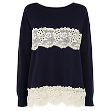 Buy Oasis Lace Stripe Detail Top Online at johnlewis.com