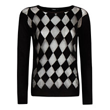 Buy Mango Semi Transparent Diamond Knit Sweater, Black Online at johnlewis.com