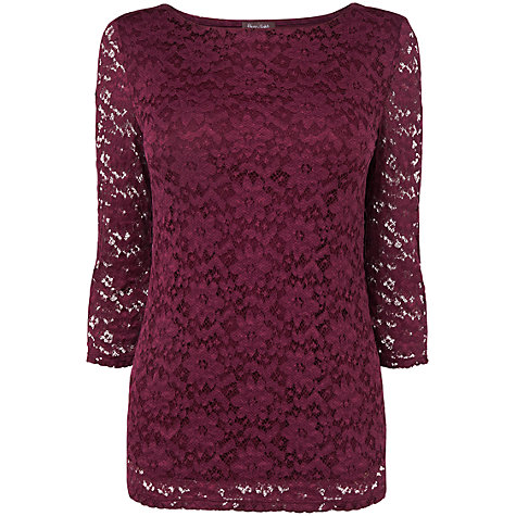 Buy Phase Eight Bordeaux Textured Lace Top, Bordeaux Online at johnlewis.com