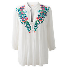 Buy East Festival Embroidered Blouse, White Online at johnlewis.com