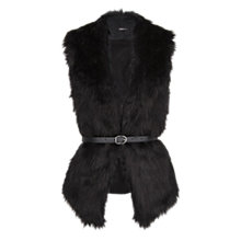 Buy Mango Faux Fur Belted Gilet, Black Online at johnlewis.com