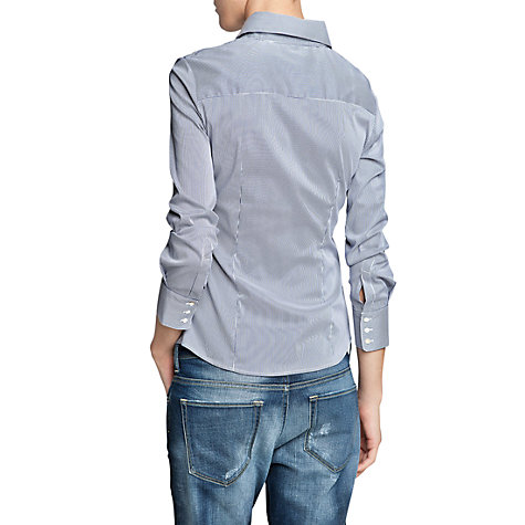 Buy Mango Fitted Stripe Shirt, Medium Blue Online at johnlewis.com