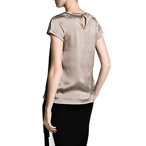 Buy Mango Pleat Blouse, Light Pastel Brown Online at johnlewis.com