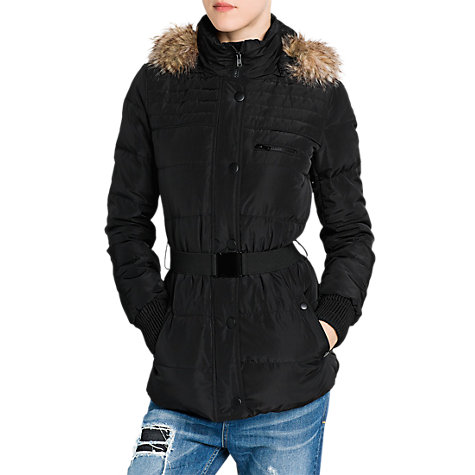 Buy Mango Faux Fur Hooded Coat, Black Online at johnlewis.com