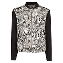 Buy Mango Zebra Print Bomber Jacket, Black Online at johnlewis.com