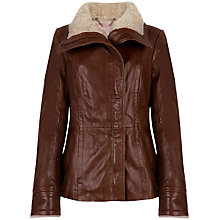 Buy Ted Baker Amilia Shearling Leather Jacket, Brown Online at johnlewis.com