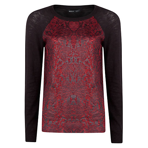 Buy Mango Snake Print Sweatshirt, Bright Red Online at johnlewis.com