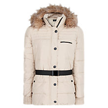 Buy Mango Faux Fur Down Hooded Jacket, Light Beige Online at johnlewis.com