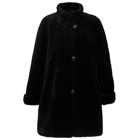Buy Basler Faux Fur Swing Coat, Black Online at johnlewis.com