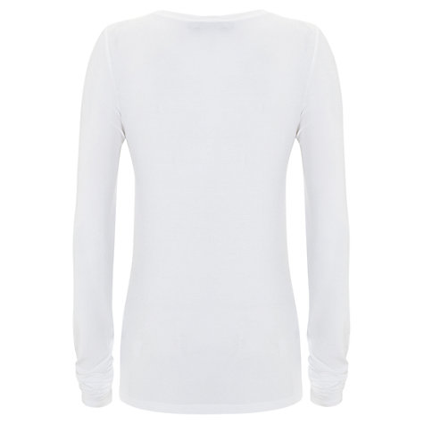 Buy Mint Velvet Modal Long Sleeve T-Shirt, White Online at johnlewis.com