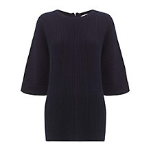 Buy Whistles Liv Rib Stitch Knitted T-Shirt, Navy Online at johnlewis.com