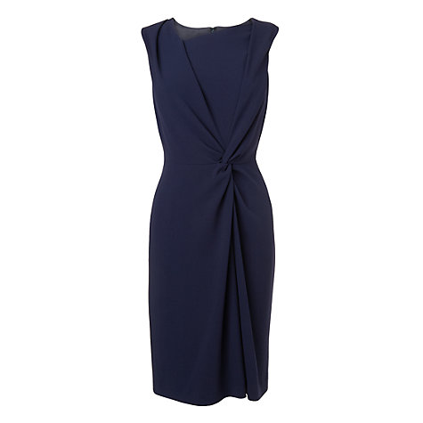 Buy L.K. Bennett Adela Twist Front Crepe Dress, Blue Online at johnlewis.com