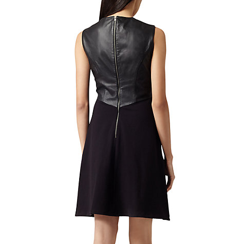Buy Reiss Tennyson Leather Fit and Flare Dress, Black Online at johnlewis.com