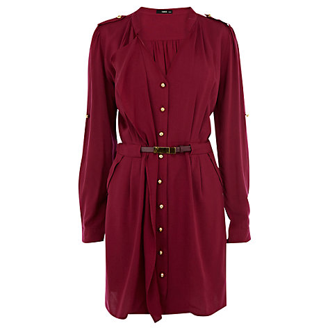 Buy Oasis Shirt Dress, Burgundy Online at johnlewis.com