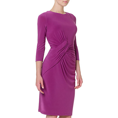 Buy Adrianna Papell Asymmetric Ruched Dress, Grape Pie Online at johnlewis.com