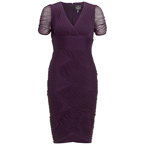 Buy Adrianna Papell Shirred Dress, Aubergine Online at johnlewis.com