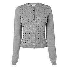 Buy L.K. Bennett Senna Beaded Cardigan, Pale Grey Online at johnlewis.com