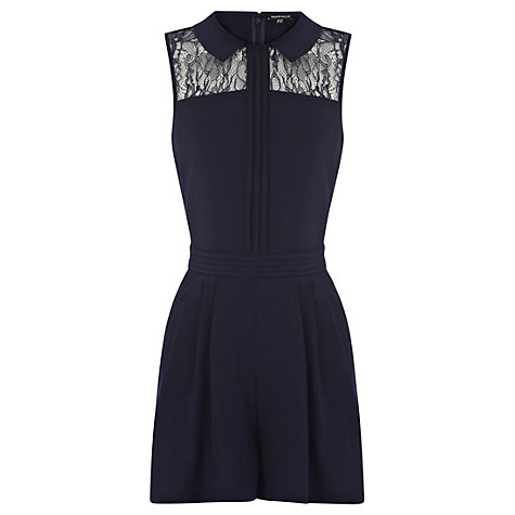 Buy Warehouse Lace Detail Playsuit, Navy Online at johnlewis.com