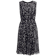 Buy Adrianna Papell Pleated Flared Dress, Black/White Online at johnlewis.com