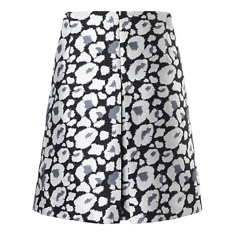 Buy Whistles Floral Print Pleated Skirt, Grey/Multi Online at johnlewis.com