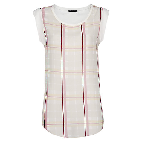 Buy Mango Check Panel T-Shirt, Natural White Online at johnlewis.com