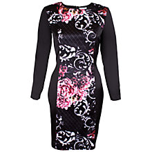 Buy Whistle & Wolf Satin Fitted Print Dress, Black Online at johnlewis.com