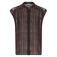 Buy Mango Lace Panel Plaid Top, Black Online at johnlewis.com