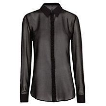 Buy Mango Metallic Flowing Blouse, Black Online at johnlewis.com