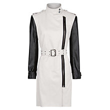 Buy Mango Leather Sleeve Trench Coat, Light Beige Online at johnlewis.com