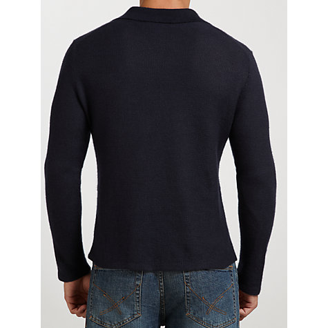 Buy Polo Ralph Lauren Long Sleeve Linen Polo Top, Navy Online at johnlewis.com