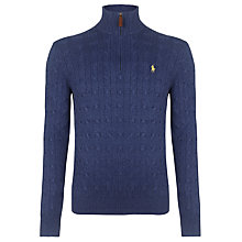 Buy Polo Ralph Lauren Cable Knit Silk Jumper, Mascot Blue Online at johnlewis.com