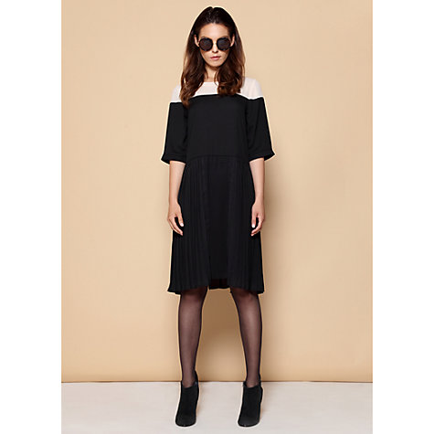Buy Paisie Two Tone Pleated Shift Dress, Cream/Black Online at johnlewis.com