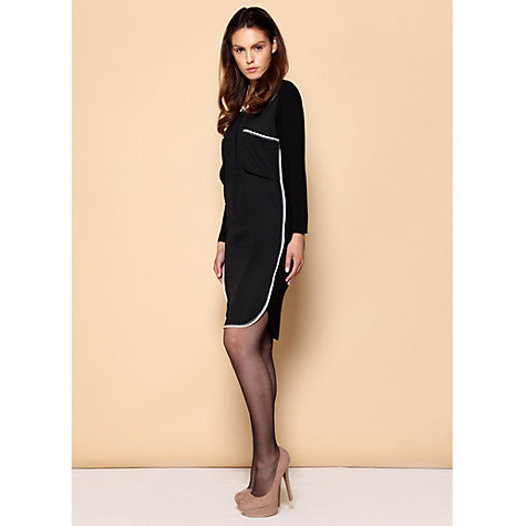 Buy Paisie Contrast Edge Shirt Dress, Black Online at johnlewis.com